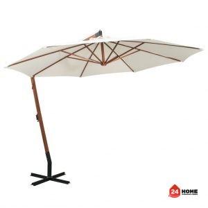 Висящ чадър за слънце, 350 см, дървен прът, бял-SUNNY-8