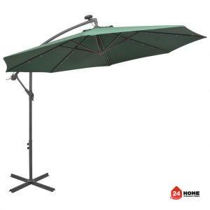 Висящ-чадър-с-LED-осветление-300-см-зелен-метален-прът-SUNNY-8