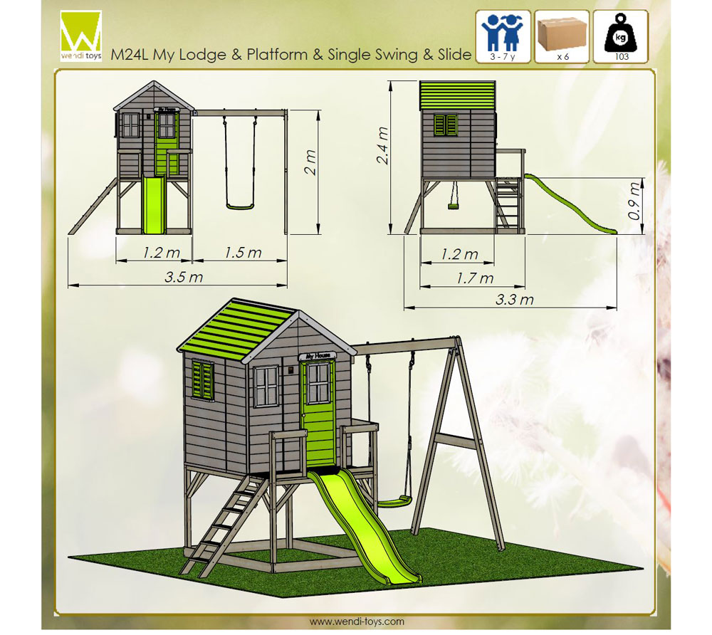 Детска-къща-Summer-Adventure-с-тераса-пързалка-и-люлка-M24L