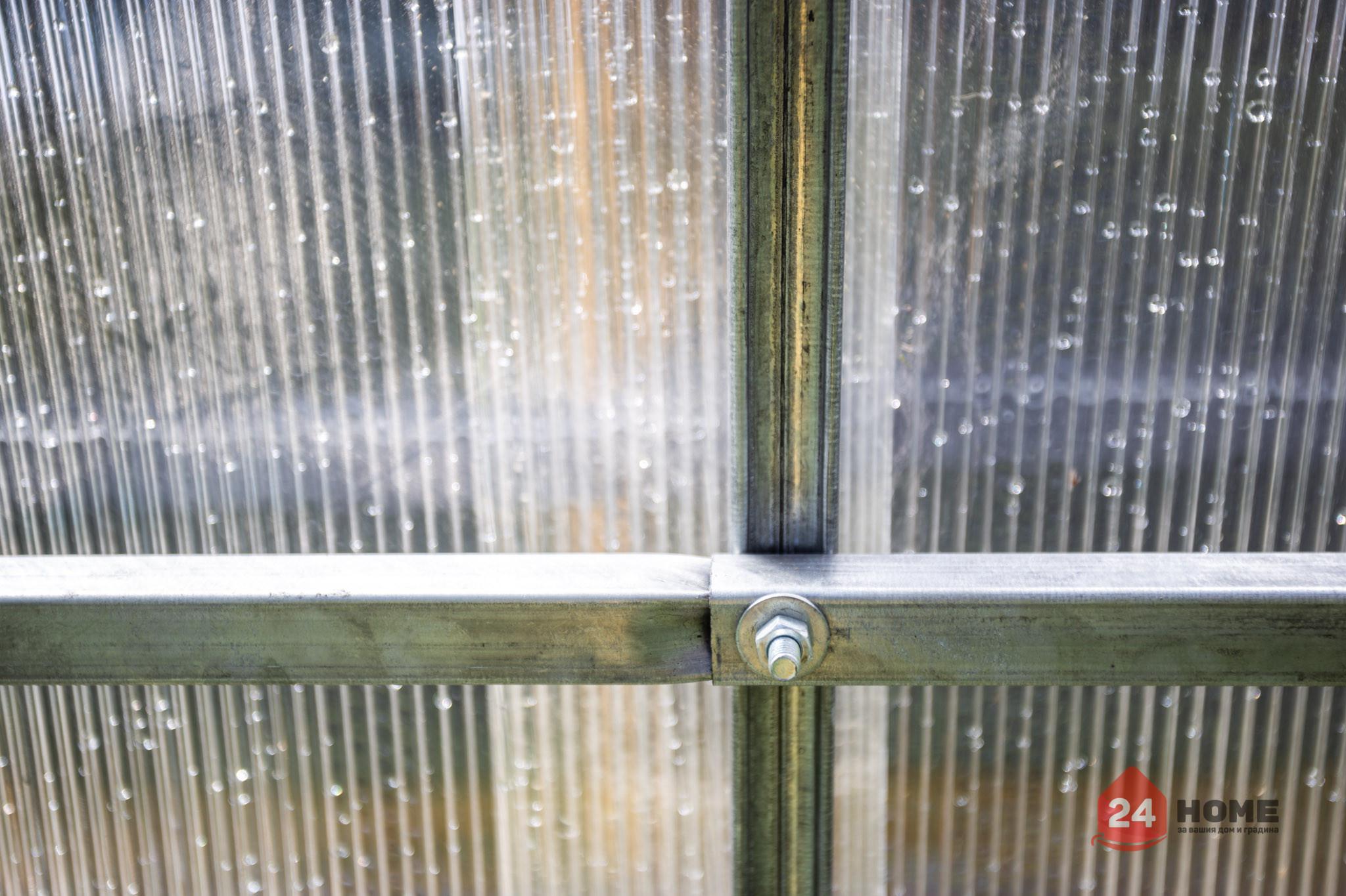 Оранжерия-SUNNY-Classic-покритие-от-поликарбонат-стоманена-конструкция-3x4-м-свързване-дъги