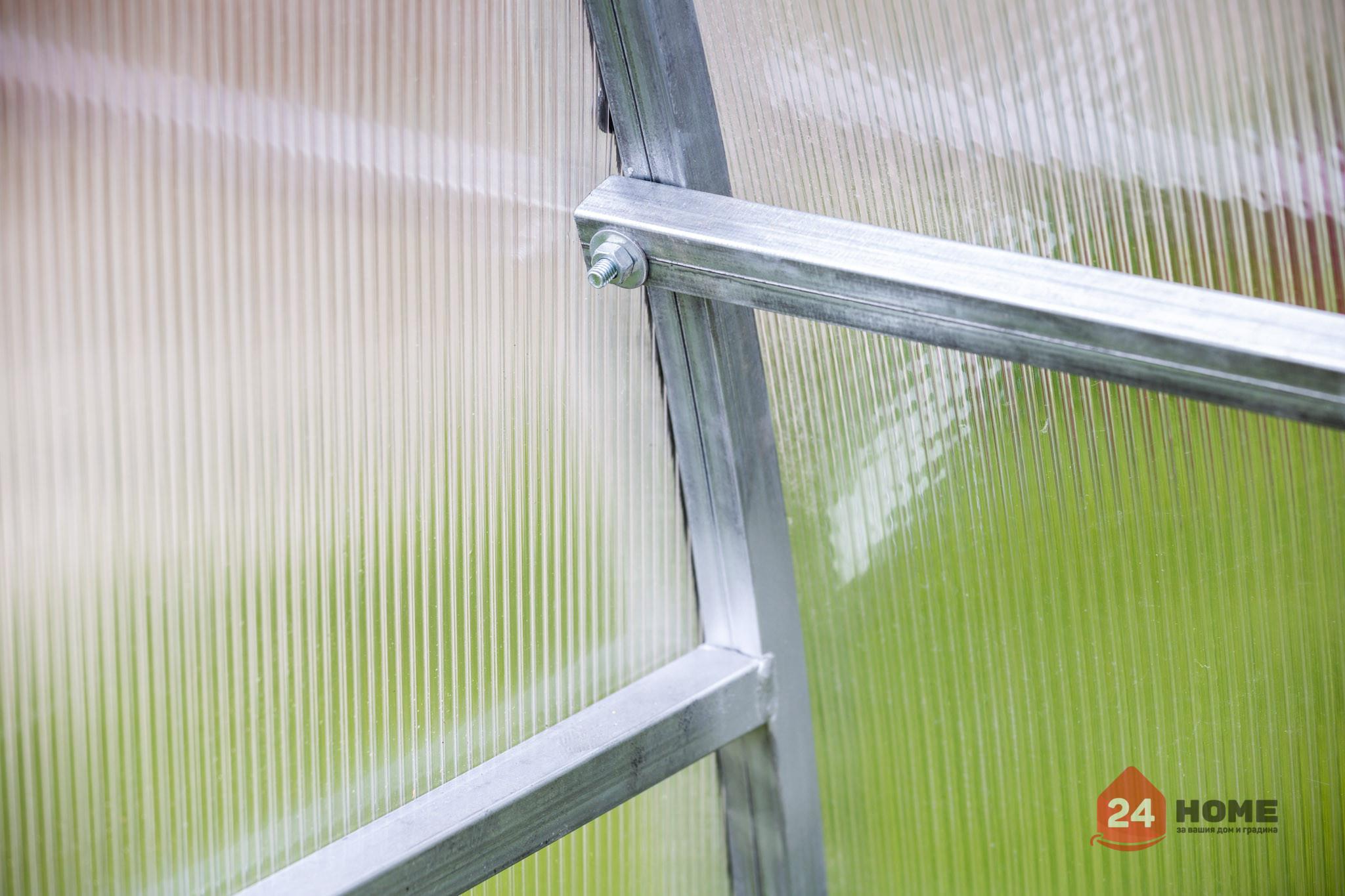 Оранжерия-SUNNY-Classic-покритие-от-поликарбонат-стоманена-конструкция-3x4-м-челен-панел