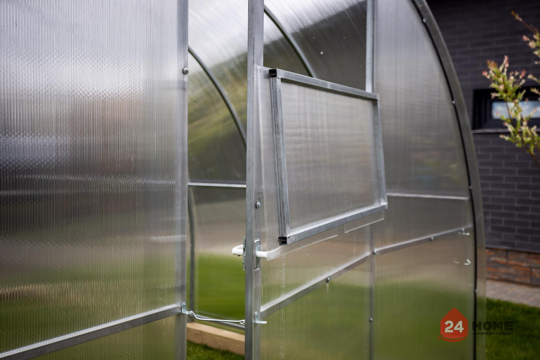 Оранжерия-SUNNY-Strong-покритие-от-поликарбонат-стоманена-конструкция-3x4-м-врата-прозорец