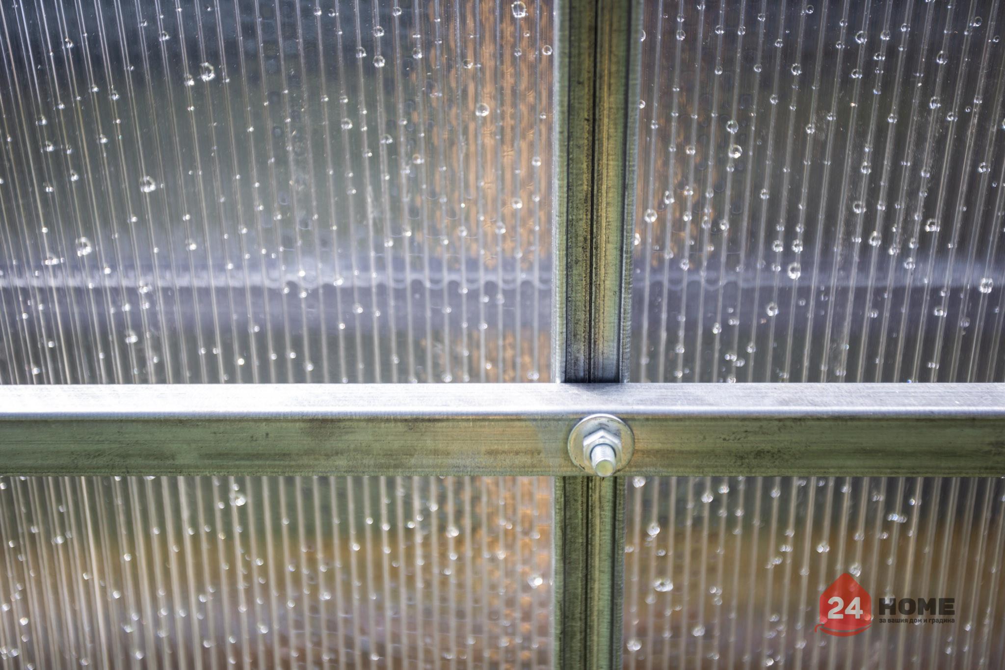 Оранжерия-SUNNY-Strong-покритие-от-поликарбонат-стоманена-конструкция-3x4-м-връзка-дъга-напречна-греда