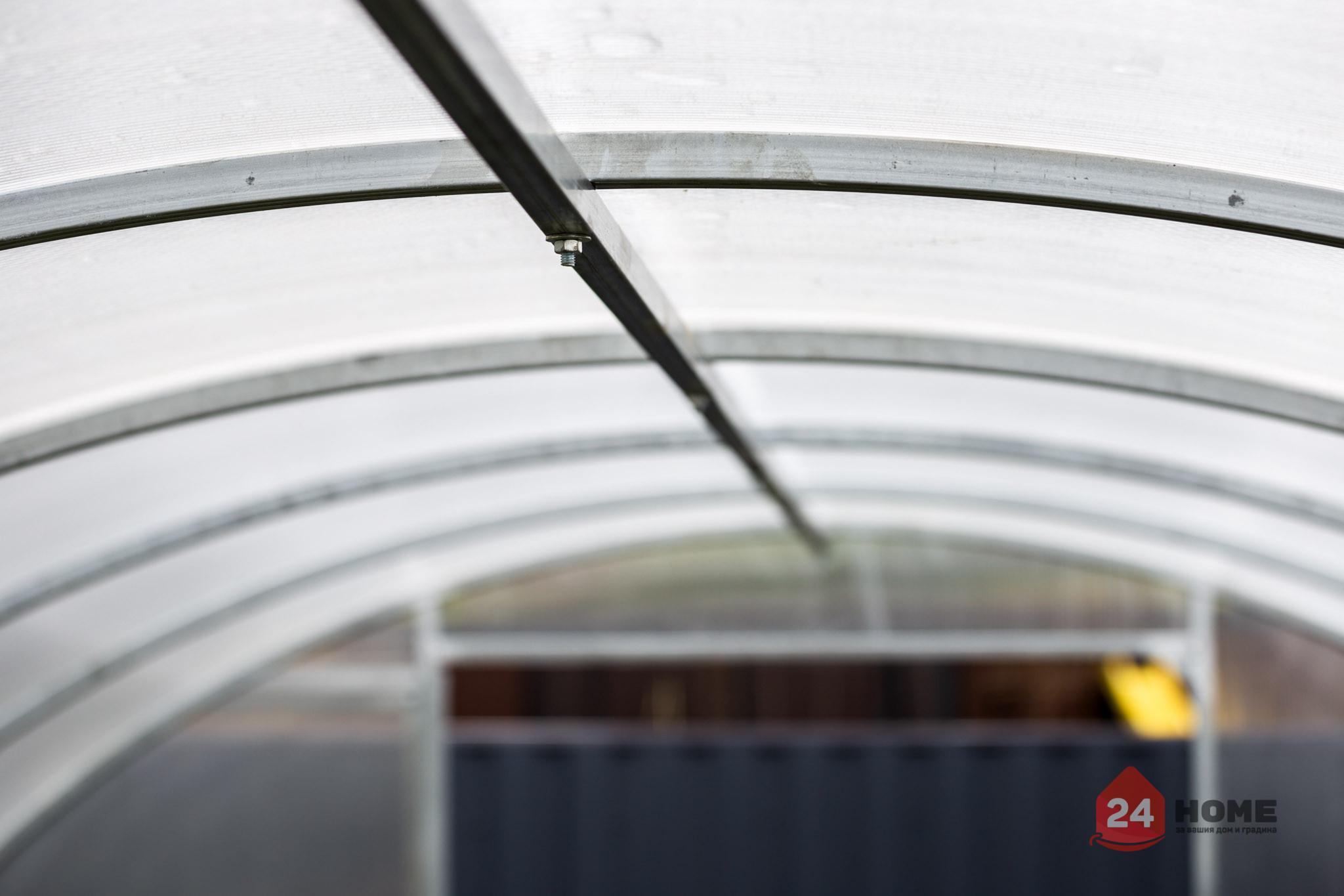 Оранжерия-SUNNY-Strong-покритие-от-поликарбонат-стоманена-конструкция-3x4-м-напречна-греда-било