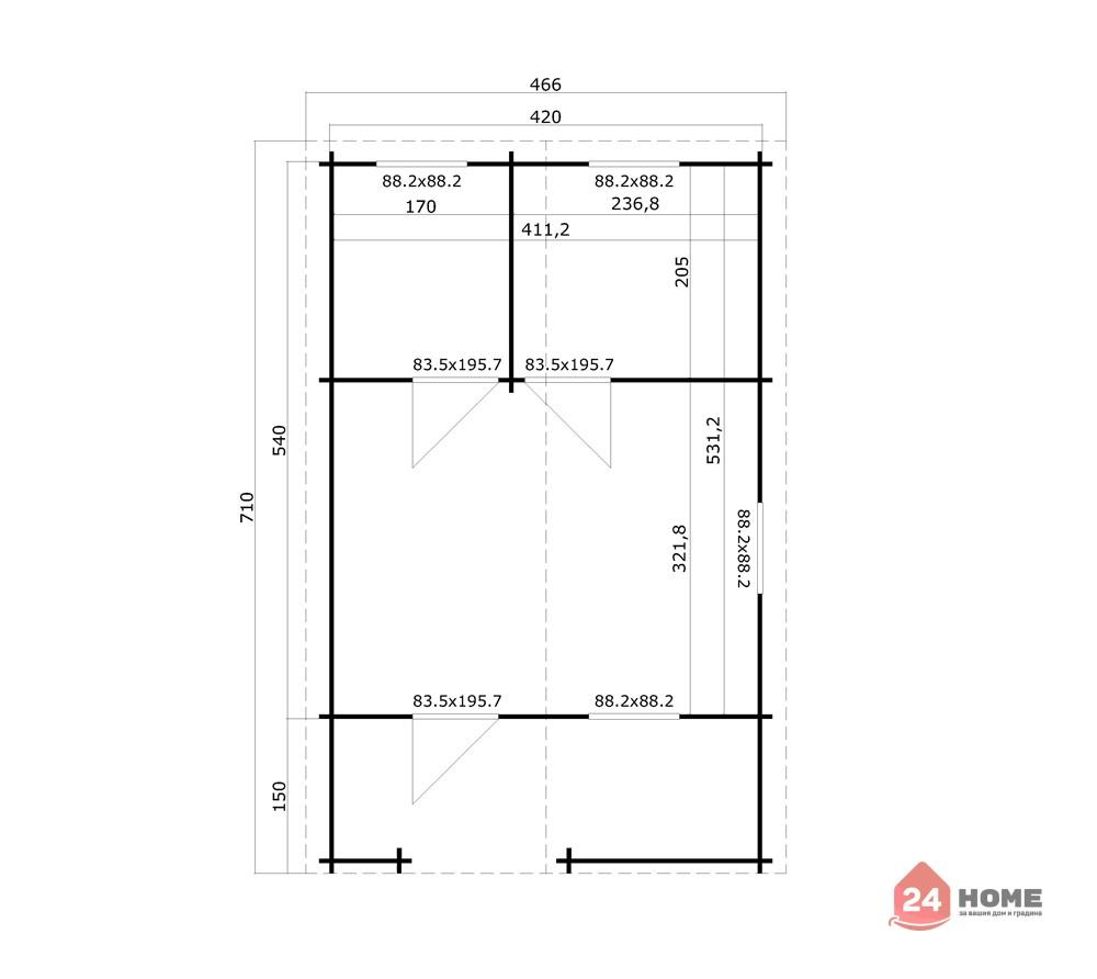 Дървена-къща-Елба-5х7-м-44-мм-схема