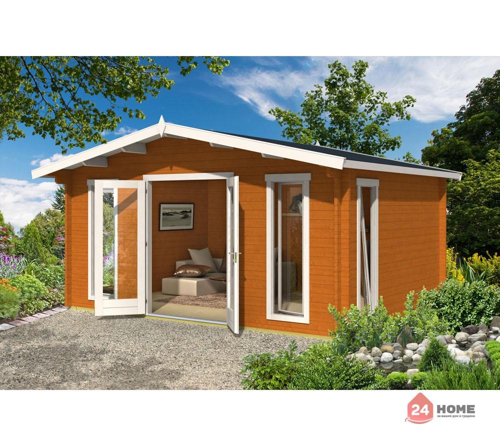 Дървена-къща-Елгин-5х4-44-мм-цвят-дъб