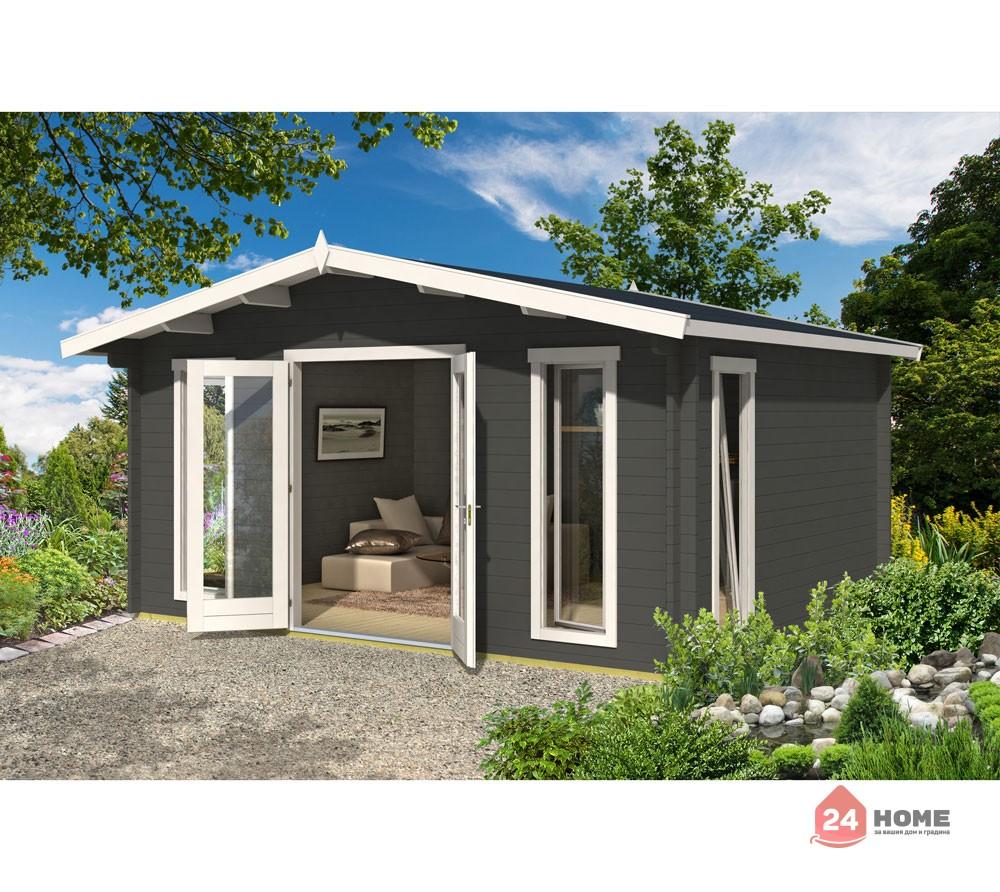 Дървена-къща-Елгин-5х4-44-мм-цвят-сив-карбон