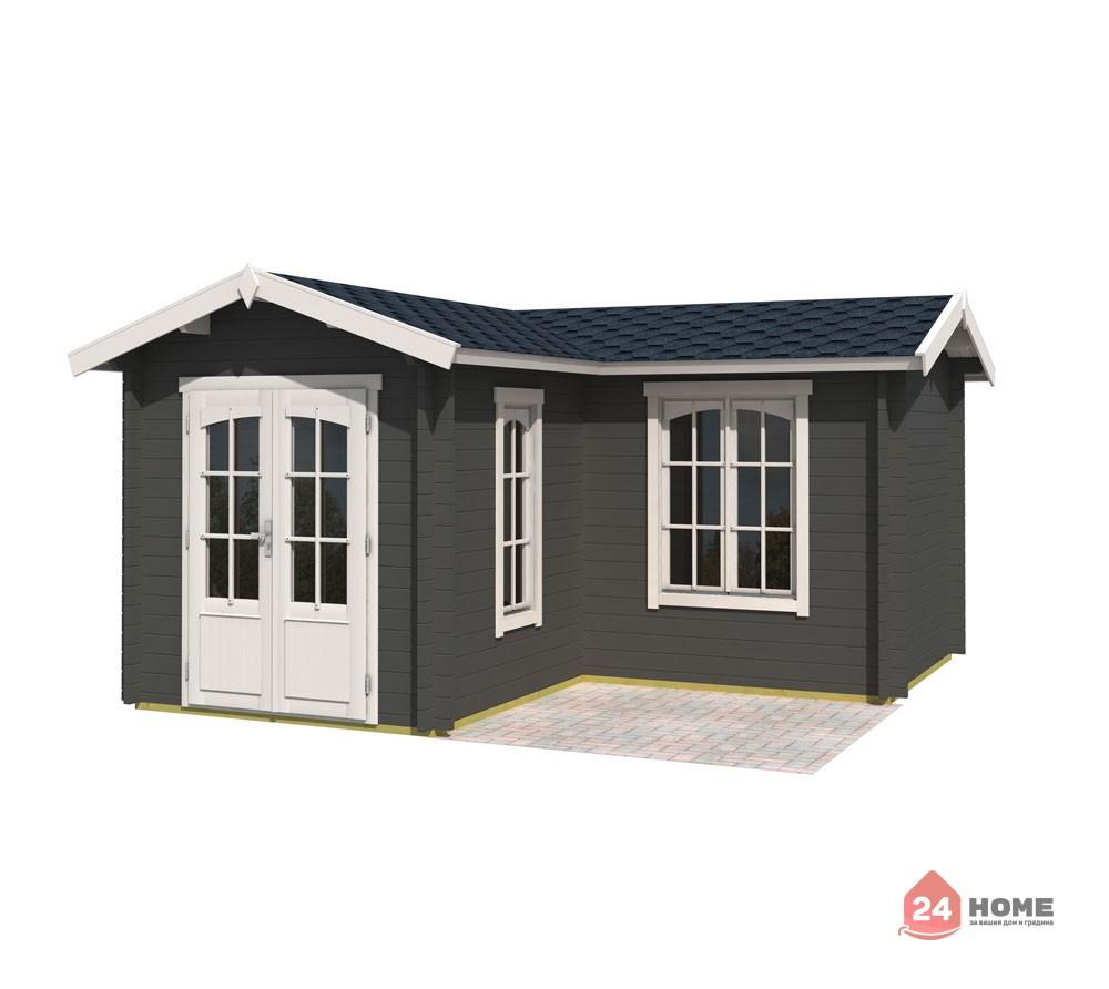 Дървена-къща-Портсмут-4.5х4.5-м-сив-карбон-1