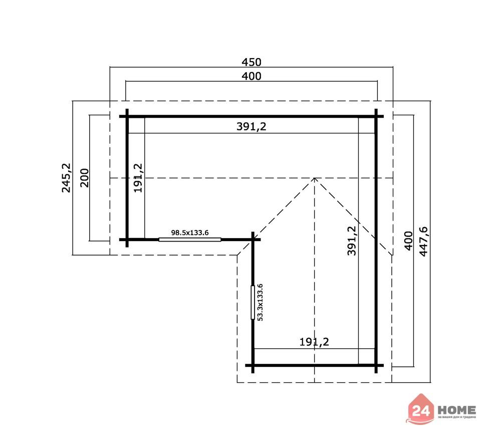 Дървена-къща-Портсмут-4.5х4.5-м-схема-1