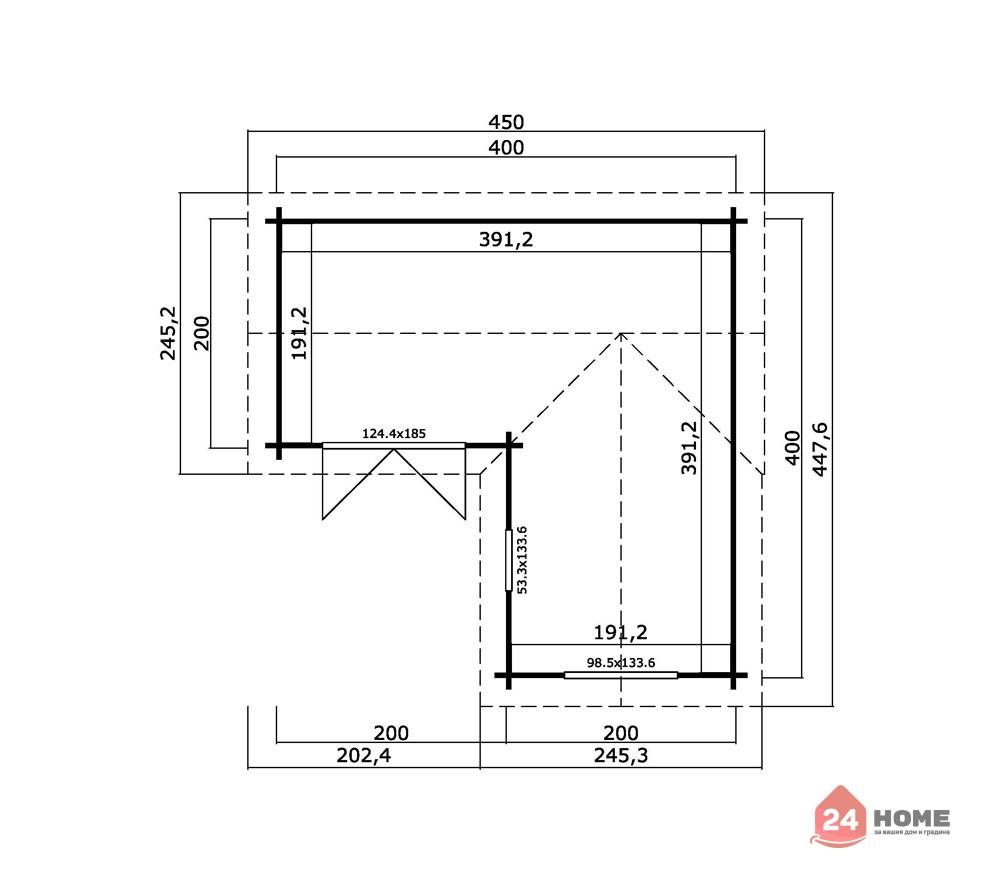 Дървена-къща-Портсмут-4.5х4.5-м-схема