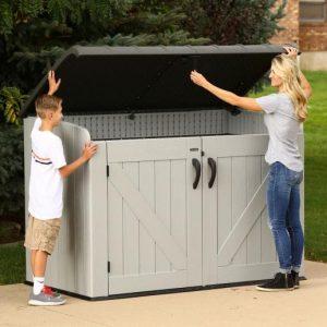 Градинска барака за съхранение боклук Lifetime XXL сива, 191×107 cm – 6