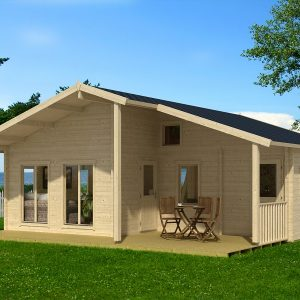 Дървена-къща-Ганг-8.3х8.9-м-70-мм-Смърч-натурално-дърво