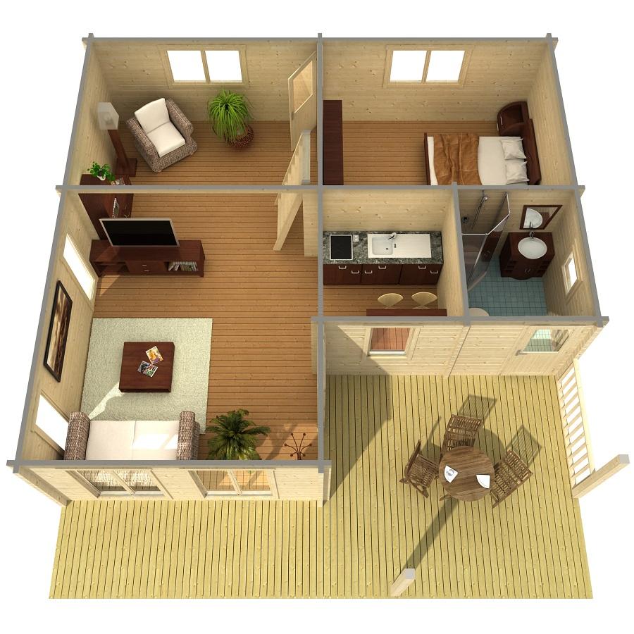 Дървена-къща-Ганг-8.3х8.9-м-70-мм-Смърч-натурално-дърво-1