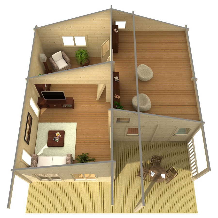 Дървена-къща-Ганг-8.3х8.9-м-70-мм-Смърч-натурално-дърво-2