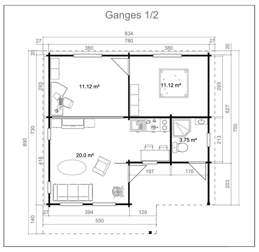 Дървена-къща-Ганг-8.3х8.9-м-70-мм-Смърч-натурално-дърво-3