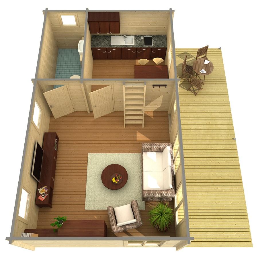 Дървена-къща-Ефрат-5-4х8-4-м-70-мм-Смърч-натурално-дърво-1