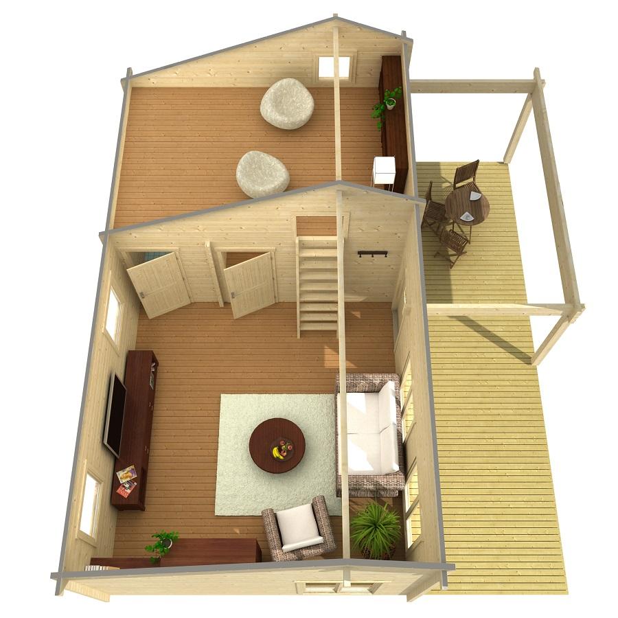 Дървена-къща-Ефрат-5-4х8-4-м-70-мм-Смърч-натурално-дърво-2