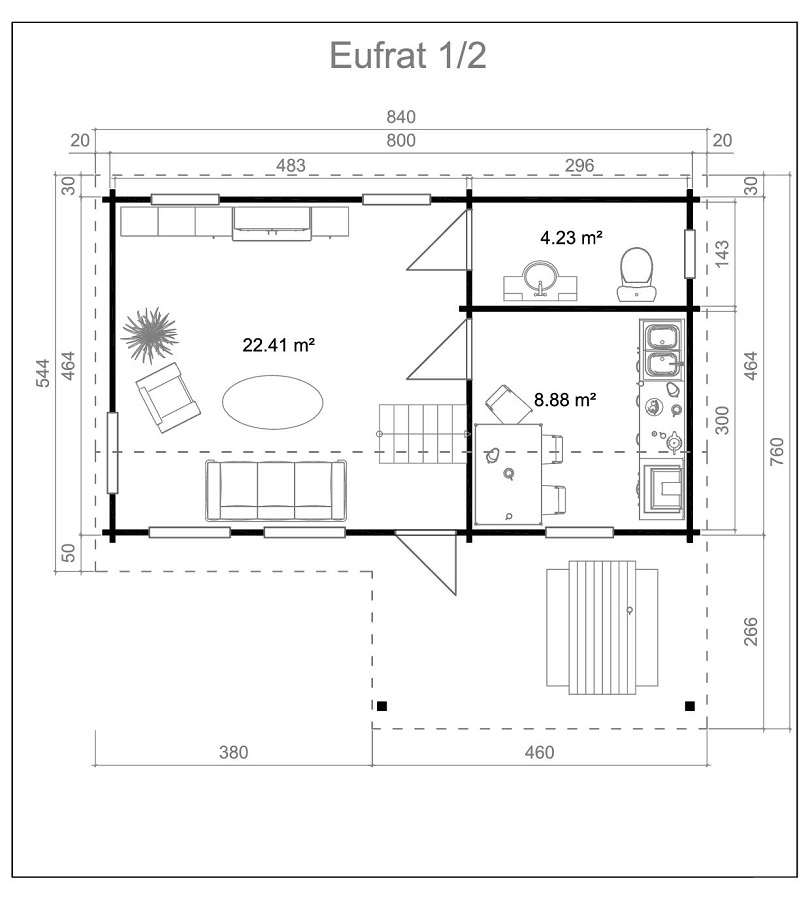 Дървена-къща-Ефрат-5-4х8-4-м-70-мм-Смърч-натурално-дърво-3
