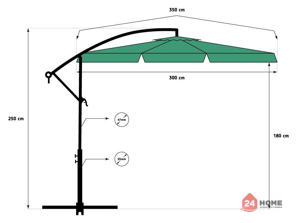 Свободновисящ-чадър-за-слънце-SUNNY-300-см-зелен-143_9